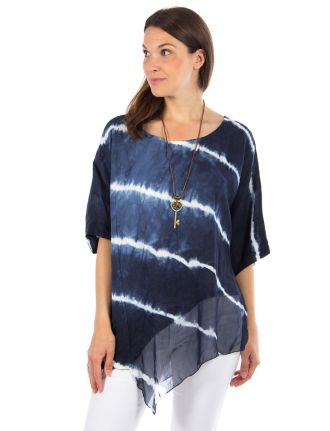 Striped linen tunic with silk hemline by Froccella