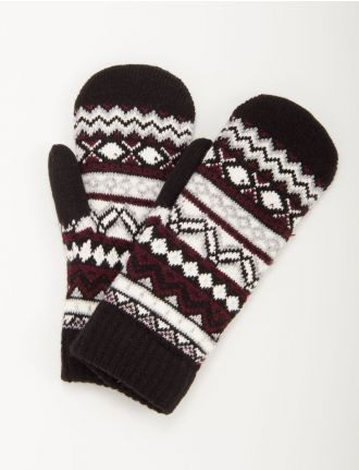 Knit chenille lined mittens by Fits Accessories