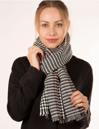 Houndstooth scarf with trim by Janie Besner
