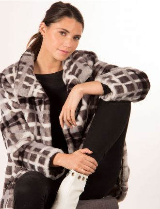 Faux fur plaid coat by Novelti