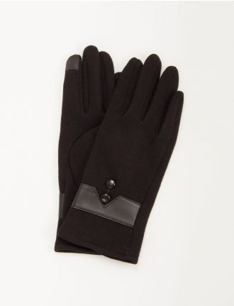 Knit glove with buttons and leatherette trim by Saki