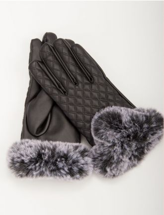 Leatherette quilted gloves by Saki