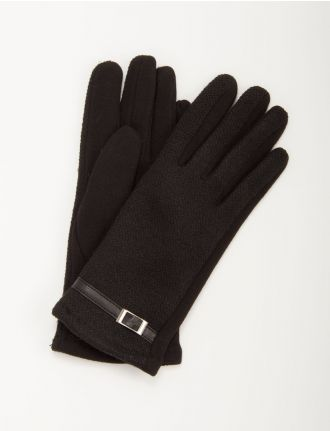 Knit and jersey gloves with leatherette trim by Saki