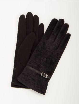 Knit gloves with leatherette trim by Saki