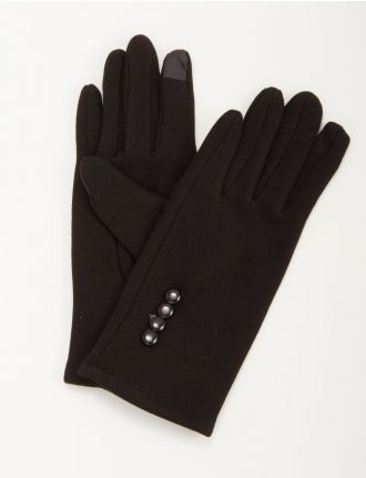 Jersey knit gloves with buttons by Saki