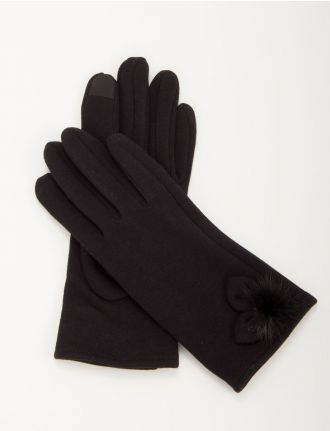 Jersey knit gloves with rabbit fur pom pom by Saki