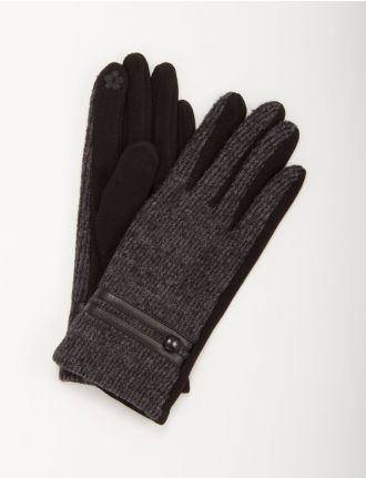Chenille knit gloves with button and leatherette detail by Saki