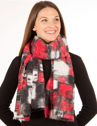 Brick print scarf by Saki