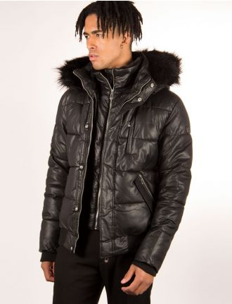 Hooded bomber in faux leather by Noize