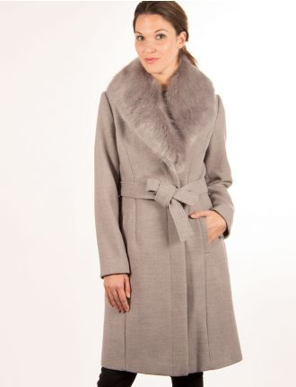 Belted coat with faux fur trim by Portrait