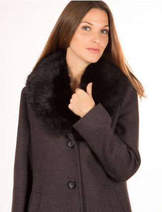 Coat with faux fur trim by Portrait