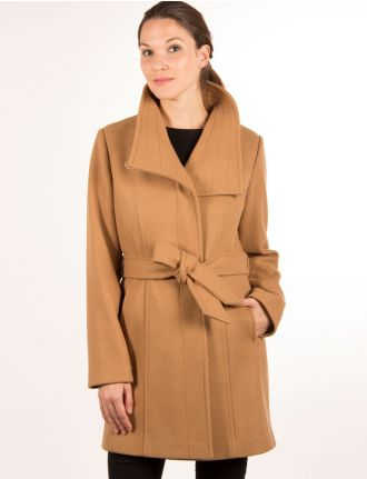 Asymetrical belted coat by Portrait