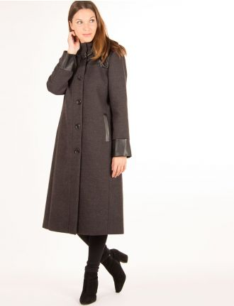 Long coat with leatherette detail by Portrait