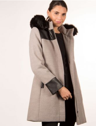 Coat with leatherette detail by Portrait