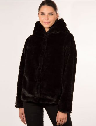 Faux fur hooded coat by Point Zero