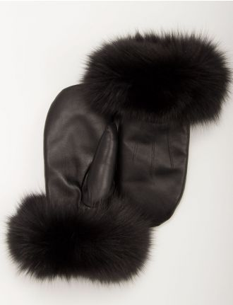 Leather mittens with real fox fur trim by Mitchie's