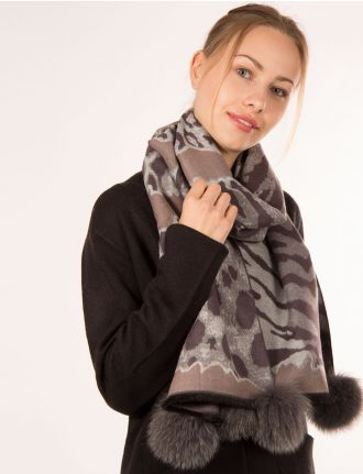 Leopard print scarf with fox pom poms by Mitchie's