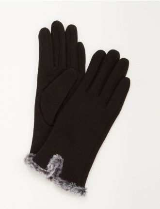Knit gloves with faux fur by Auclair