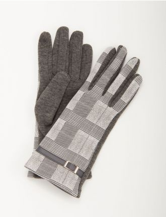 Plaid knit gloves with I-Touch by Mancini
