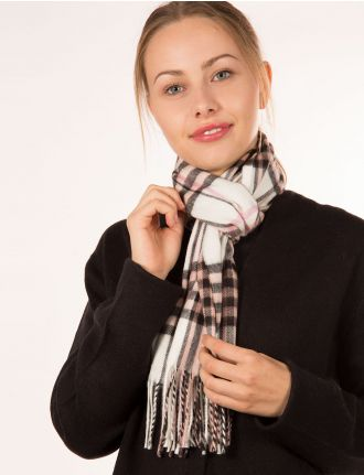 Plaid scarf with fringes by Froccella