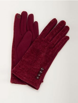 Corduroy glove with button detail and I-Touch by Nicci
