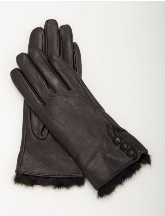 Leather gloves with fur cuffs and buttons by Nicci