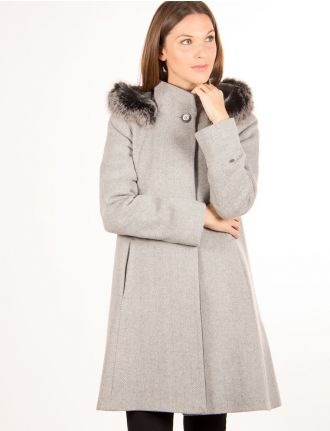 Herringbone hooded coat by Styla