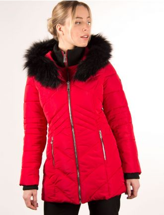 Quilted coat with interior fooler jacket by Saki