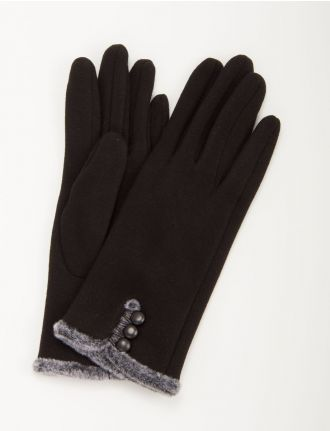 Gloves with faux fur and 3 button closure by Embellie