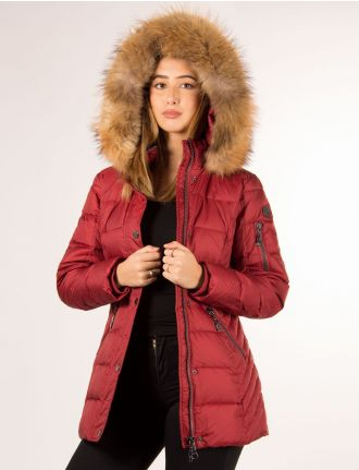 Quilted coat with genuine fur trim by Danwear