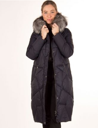 Long quilted coat with genuine fur trim by Danwear