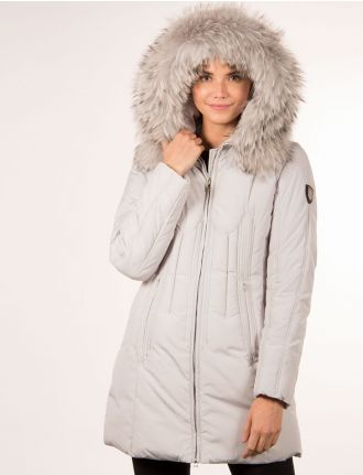 Quilted coat with real fur trim by Froccella