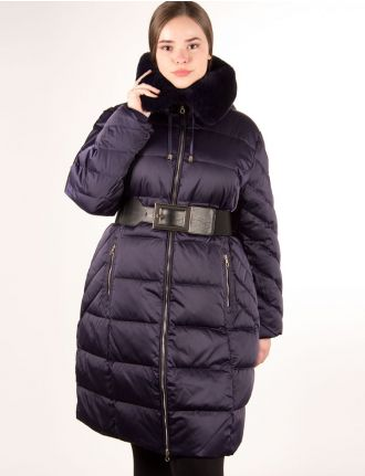 Down coat with genuine rabbit fur trim by Styla Sport