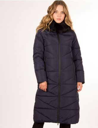 Long puffer coat with water repellent zippers by Styla Sport