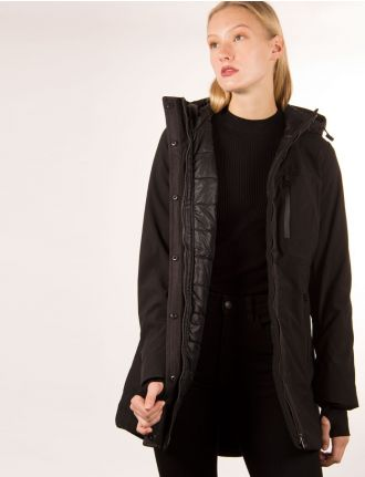 Softshell coat with quilted interior by Sebby