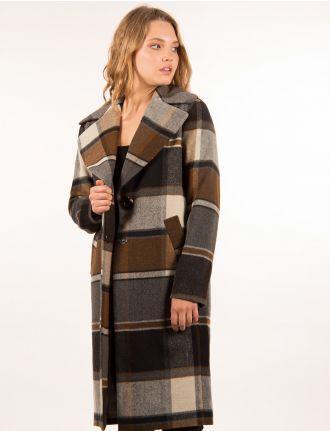 Wool plaid coat by Kensie
