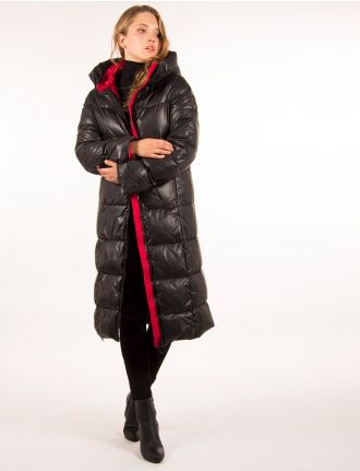 Long puffer coat with contrast lining by Noize
