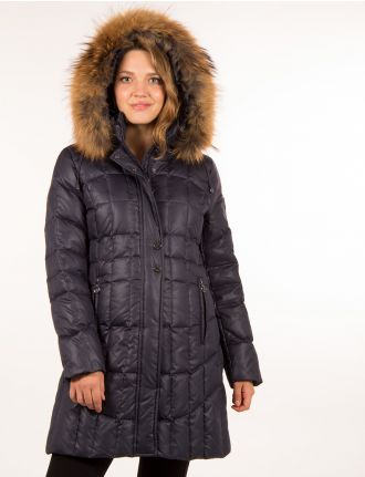 Long glossy jacket with genuine fur trim by NORMANN
