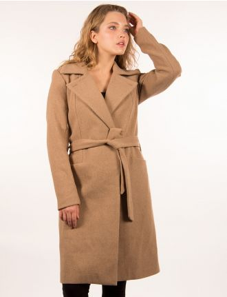 Wool belted wrap coat by Only