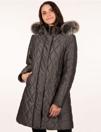 Quilted coat with genuine fur trim by Styla